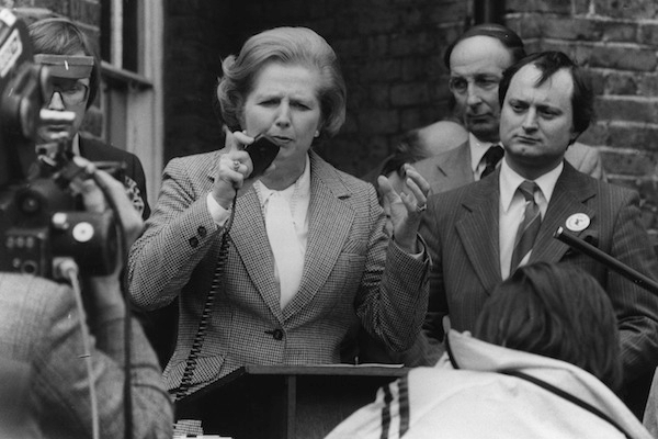 Margaret Thatcher on the stump. Photo: Central Press/Getty Images