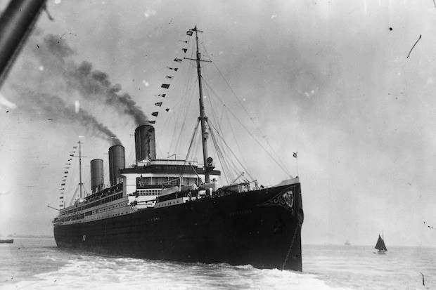 The Hamburg-America liner Vaterland leaving Southampton on her maiden voyage from Cuxhaven in Germany to New York in May 1914 (Photo by Topical Press Agency/Getty Images)