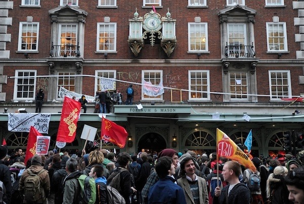 Protestors outside Fortnum and Mason in 2011. Image: Getty