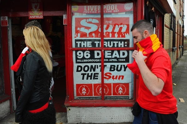 Every newspaper followed the police's line on Hillsborough - why has The Sun been singled out? asks Kelvin. Photo: Getty Images.