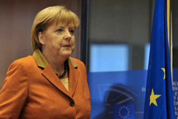 Angela Merkel told the European Parliament today that she could not imagine 'that the UK would not be part of Europe'. Picture: Getty