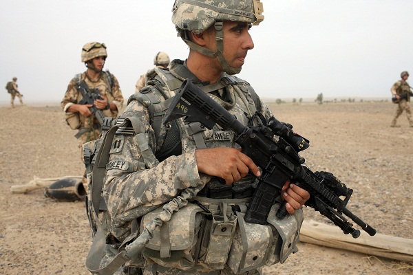 British and American troops operating in Helmand last year. Image: Getty