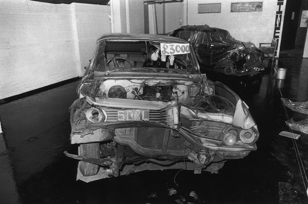A wrecked Pontiac, one of the items displayed in J.G. Ballard's 'The Atrocity Exhibition'. Image: Getty.