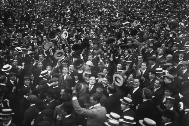 4 August 1914: People in Trafalgar Square cheer Britain's declaration of war on Germany (Photo: Hulton Archive/Getty)