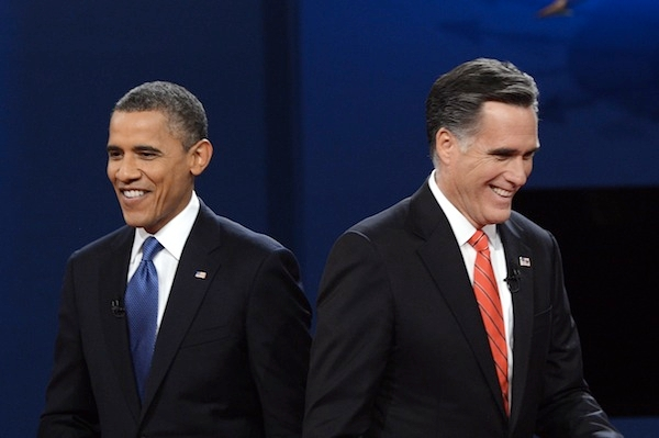 Barack Obama and Mitt Romney sparred in their first televised presidential debate last night. Picture: Getty