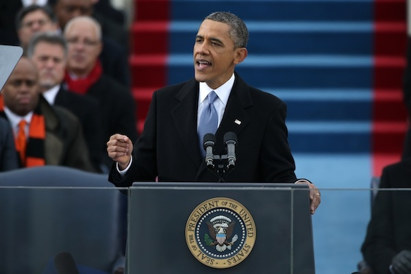 Barack Obama gives his inauguration speech. Picture: Getty