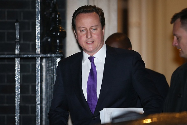 David Cameron leaves Downing Street for Parliament earlier this evening. Image: Getty
