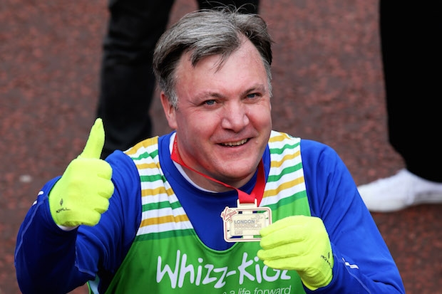 Ed Balls, having crossed another line at the London Marathon. Image: Getty