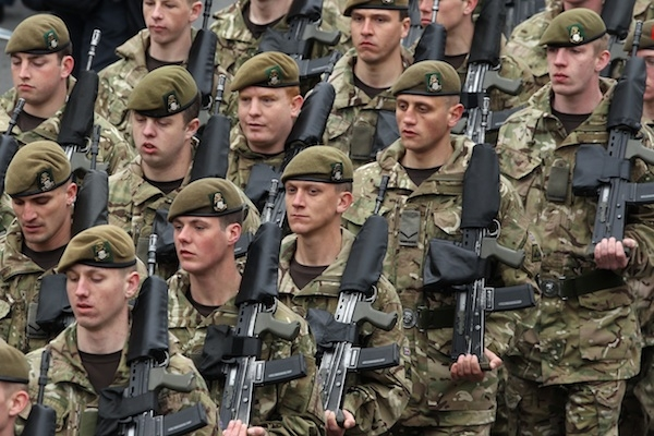 Soldiers From The 3rd Battalion, The Yorkshire Regiment March In A Farewell Parade