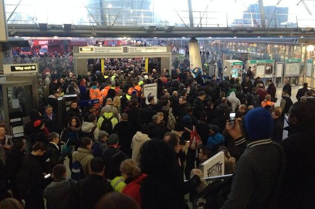 Stratford station this morning. Photo: @symeonbrown.