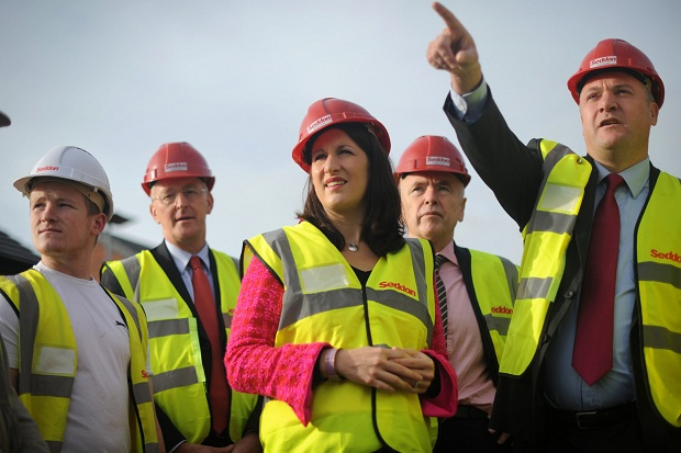 Rachel Reeves on hard-hat duty with Ed Balls and Hilary Benn. Image: Getty