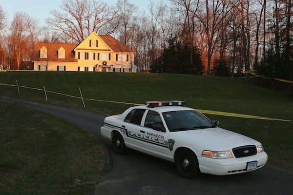 Police tape off the house where Adam Lanza lived with his mother. Picture: Getty