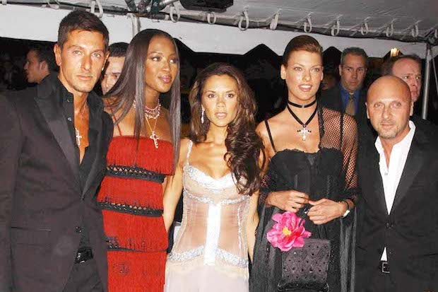 Dolce and Gabana with Naomi Campbell, Victoria Beckham and Linda Evangelista in 2003. Photo: Stephen Trupp/STARMAX/PA Images