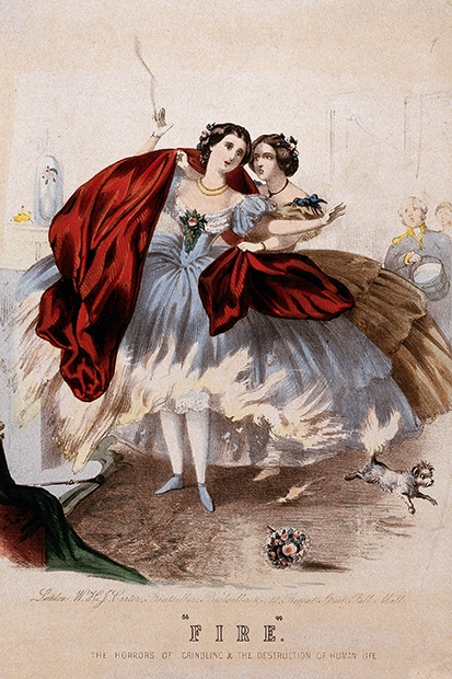 The danger of standing too close to the fire in crinolines (from Fashion Victims)