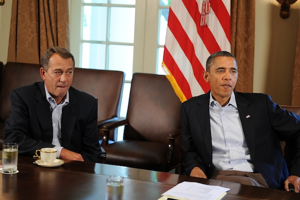 With the elections over, Speaker Boehner and President Obama have resumed negotiations aimed at avoiding the fiscal cliff. Picture: Getty Images