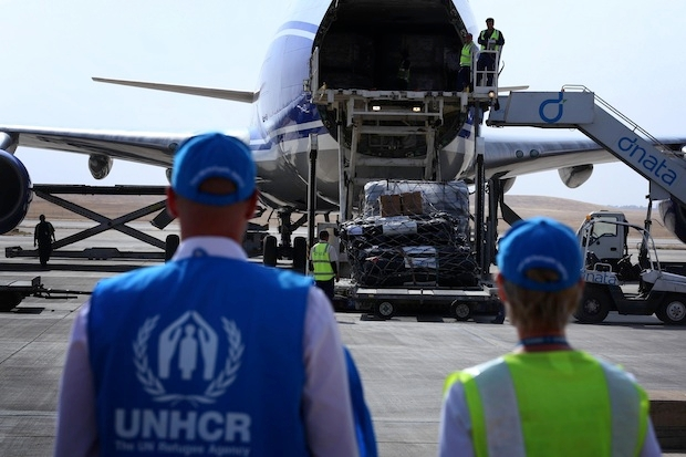 Aid arrives in the Kurdish city of Erbil. Image: Getty