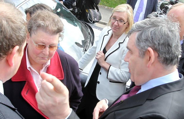 Gordon Brown speaking to Gillian Duffy during the 2010 election campaign. Picture: PA