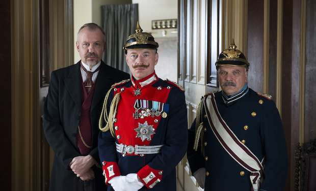Chancellor Bethmann-Hollweg, Kaiser Wilhelm II and General Moltke depicted in 37 Days (Picture: BBC)