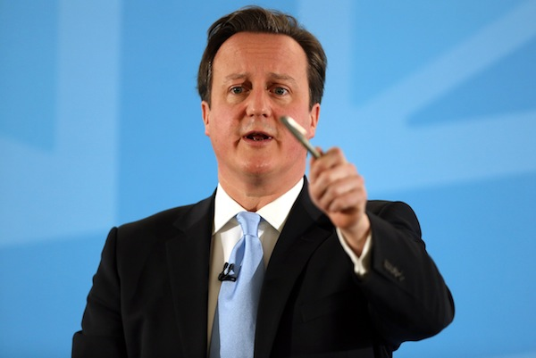 David Cameron presenting his immigration speech this morning. Photo: PA.