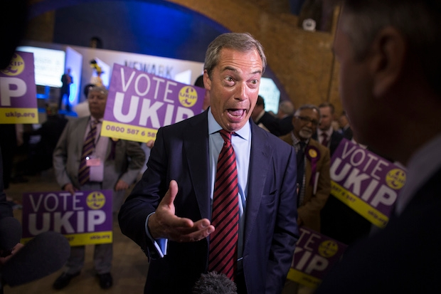 Nigel Farage in Newark yesterday. Why was he missing from the by-election? Photo: Getty Images.