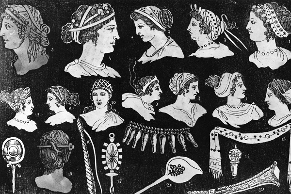 Circa 1700, Drawings of classical ladies' hairstyles. (Photo by Hulton Archive/Getty Images)
