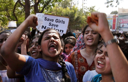 Indian students rally in Hyderabad in 2012 after the gang-rape and killing of a New Delhi student. Photo: AP/Mahesh Kumar A.