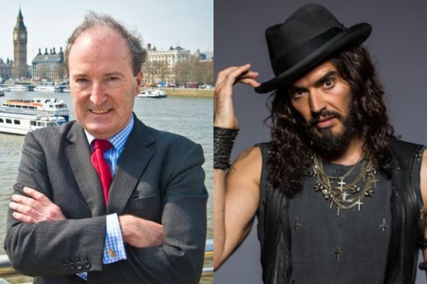 Former Spectator editor Charles Moore and comedian Russell Brand