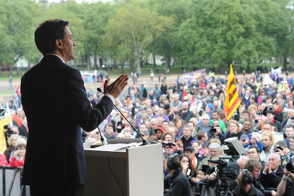 Ed Miliband addresses the TUC rally in Hyde Park today. Photo: Anthony Devlin/WPA-Pool/Getty Images