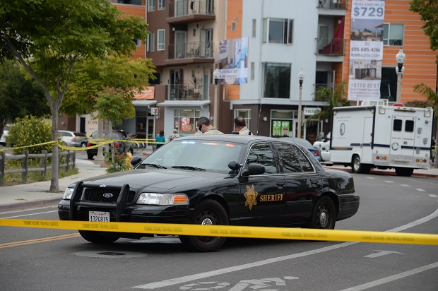 The police cordon around the site of the shootings in Santa Barbara, California. (ROBYN BECK/AFP/Getty Images)