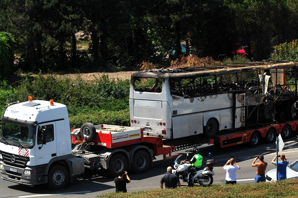 A picture of the Bulgarian bus bomb, carried out by Hezbollah. Getty Images