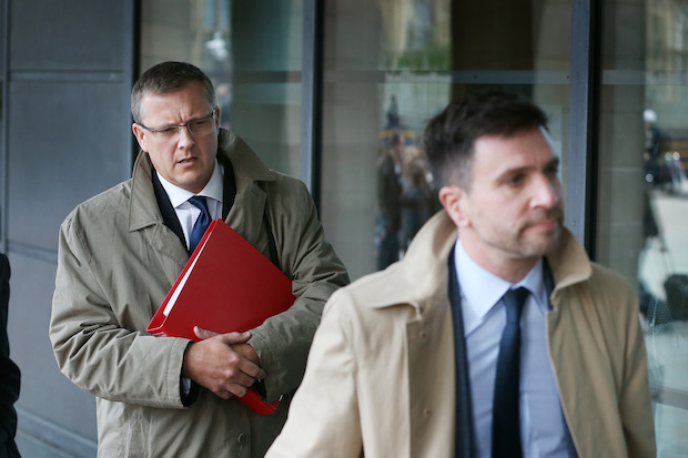 Chris Jones and Stuart Hinton arrive for questioning. Image: Getty