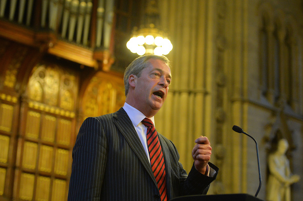 Nigel Farage in Manchester Town Hall. Image: Getty