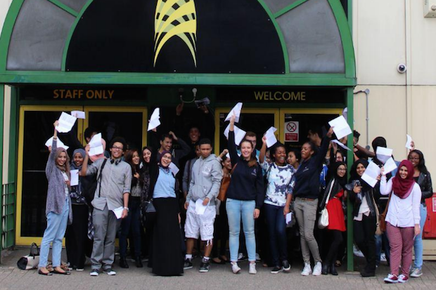 Students at the London Academy of Excellence celebrate their A-level results.