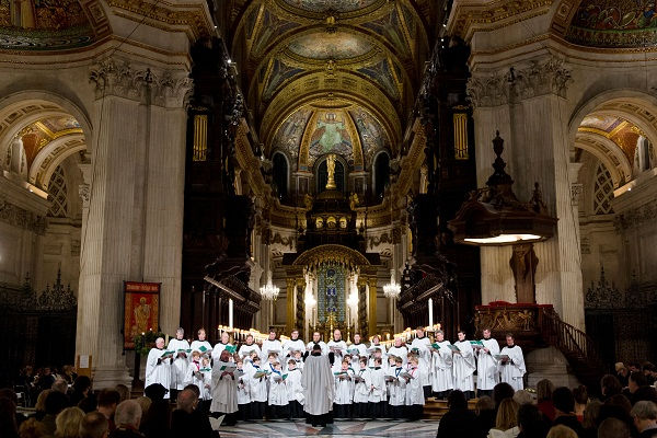 The choir perform from within the Dome sanctuary of St Paul's Cathedral. Picture: LEON NEAL/AFP/Getty