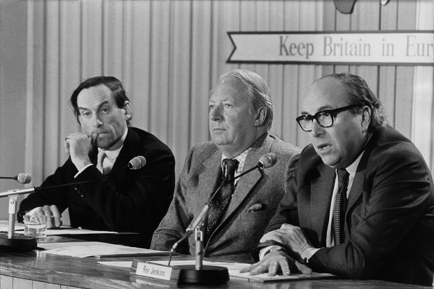 Jeremy Thorpe, Edward Heath and Roy Jenkins at a Britain in Europe event in the 1970s. (Image: Getty)