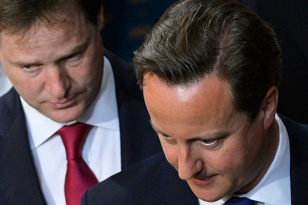 David Cameron and Nick Clegg: moving like sharks. Photo: Toby Melville - WPA Pool/Getty Images