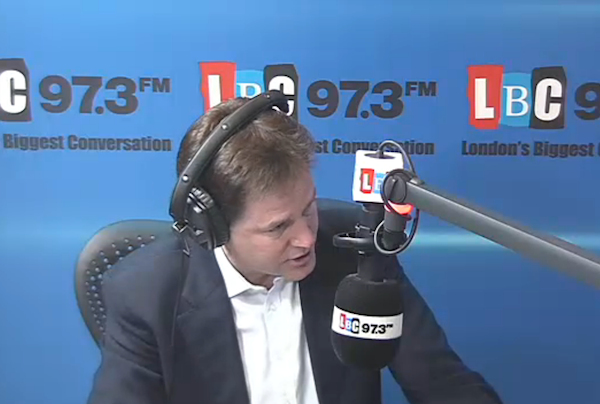 Nick Clegg answering questions on LBC Radio this morning.