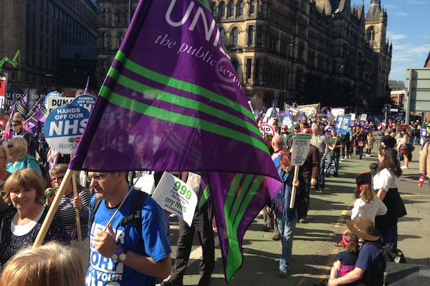 The TUC's Save our NHS march in Manchester today.