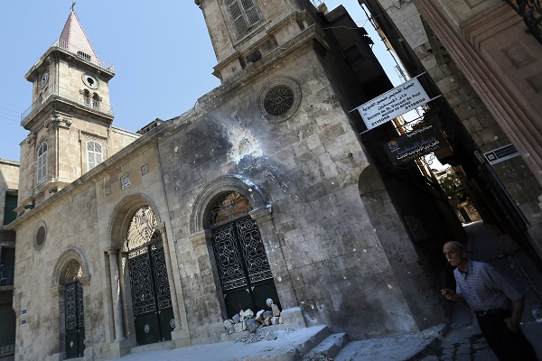 The Christian Maronite church in the Jdeideh neighbourhood of Aleppo, which was hit by a rocket last year. (JOSEPH EID/AFP/Getty Images)