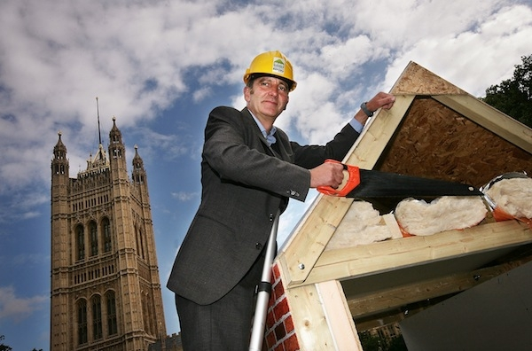 Television presenter Kevin McCloud campaigning for energy efficiency improvements outside Parliament in 2009. He got his way: but will the Green Deal work? Picture: Getty