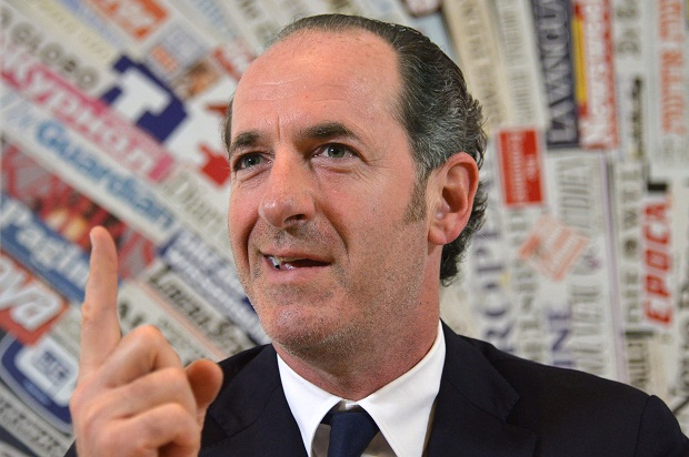 Luca Zaia, President of the Veneto region, where secessionist have won an unofficial poll for Venice to secede from Italy.  (Image: Getty/ ALBERTO PIZZOLI/AFP/Getty Images)