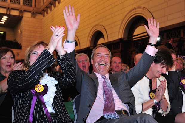Nigel Farage in Southampton celebrating his victory.Photo: OPTIONAL,TTL,CARL COURT/AFP/Getty Images