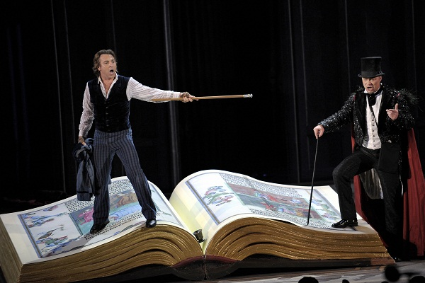 A clip taken from Gounod's opera Faust. Mephistopheles tempts Dr Faustus across the illuminated pages of a book of the Classics. Image: Getty