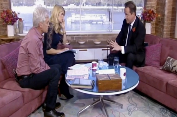 David Cameron was interviewed on This Morning. Picture: ITV