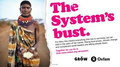 An Oxfam poster - advancing class war, while perpetuating damaging stereotypes about Africans