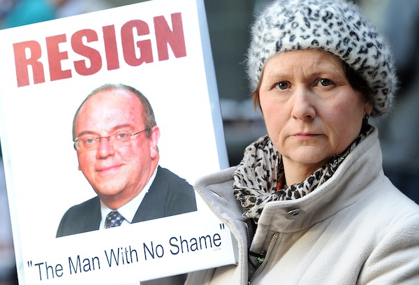 Julie Bailey, founder of Cure the NHS, calls for Sir David Nicholson to resign. Picture: PA