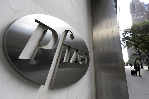 A sign for Pharmaceutical company Pfizer