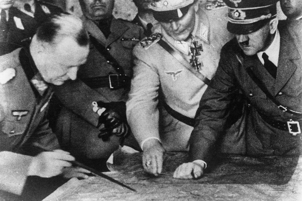 Hitler and Goering trying to locate the German sense of humour. Rudolf Herzog's book argues that humour was often the only weapon Germans could use against the Nazis. Image: Getty.