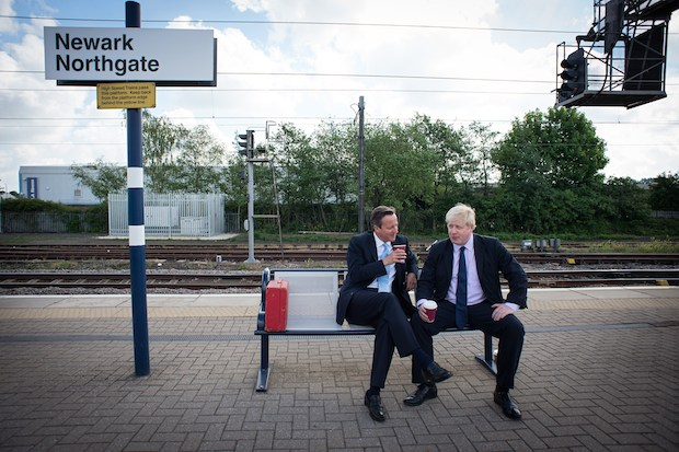 David Cameron and Boris Johnson campaigning in Newark before the by-election. photo: Getty Images.