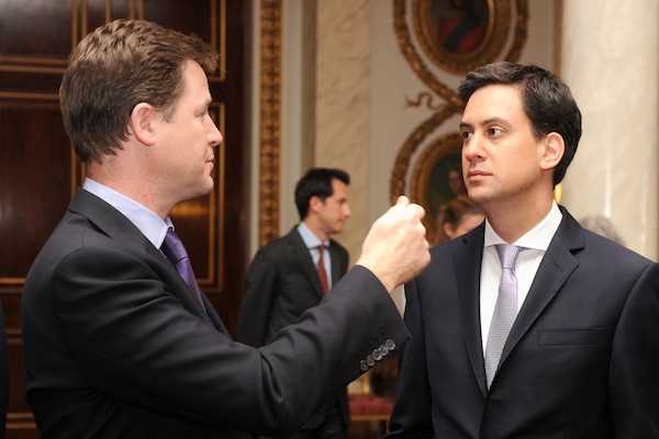 Ed Miliband and Nick Clegg chatting at an event. Picture: Getty.